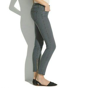Madewell Skinny Ankle Zip Jean, Grey Blue Striped